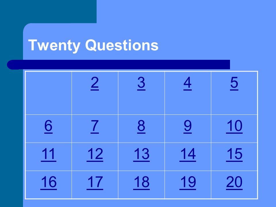 Twenty Questions Integumentary System