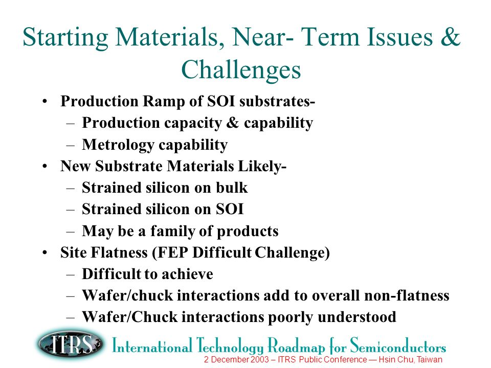 2 December 2003 – ITRS Public Conference Hsin Chu, Taiwan Starting Materials, Near- Term Issues & Challenges Production Ramp of SOI substrates- –Produ