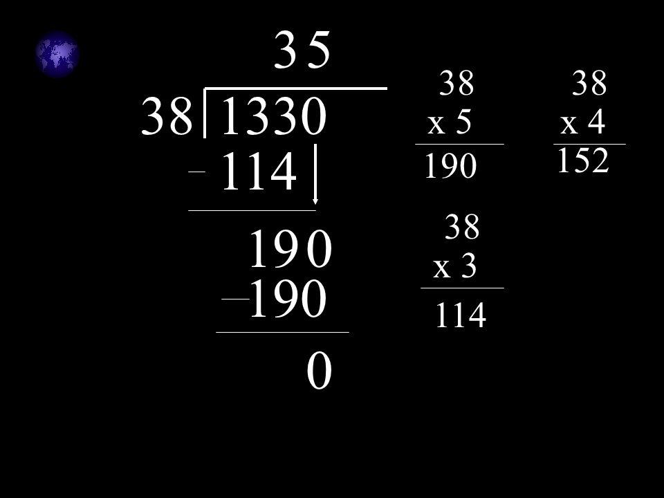 381330 38 x 5 190 38 x 4 152 38 x 3 114 3 190 5 190 0