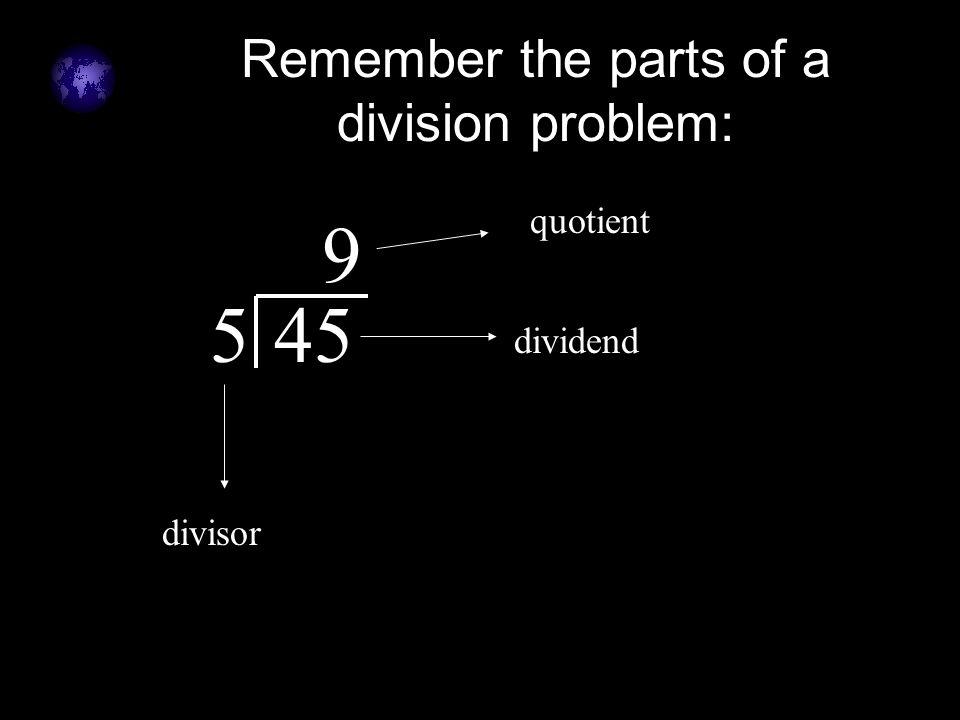 Remember the parts of a division problem: 545 9 dividend divisor quotient