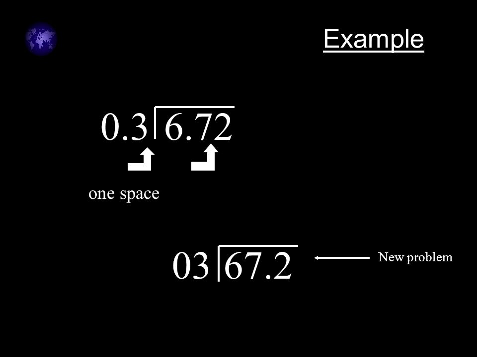 Example 0.36.72 one space 0367.2 New problem