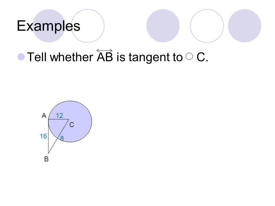 Examples Tell whether AB is tangent to C. A B C 16 12 8