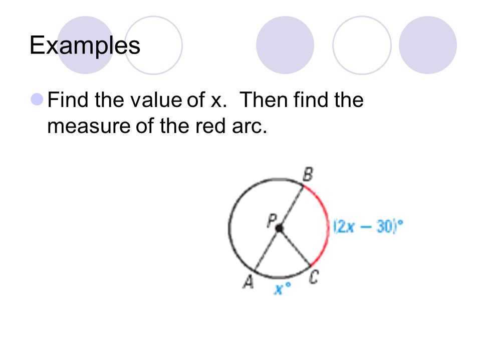 Examples Find the value of x. Then find the measure of the red arc.