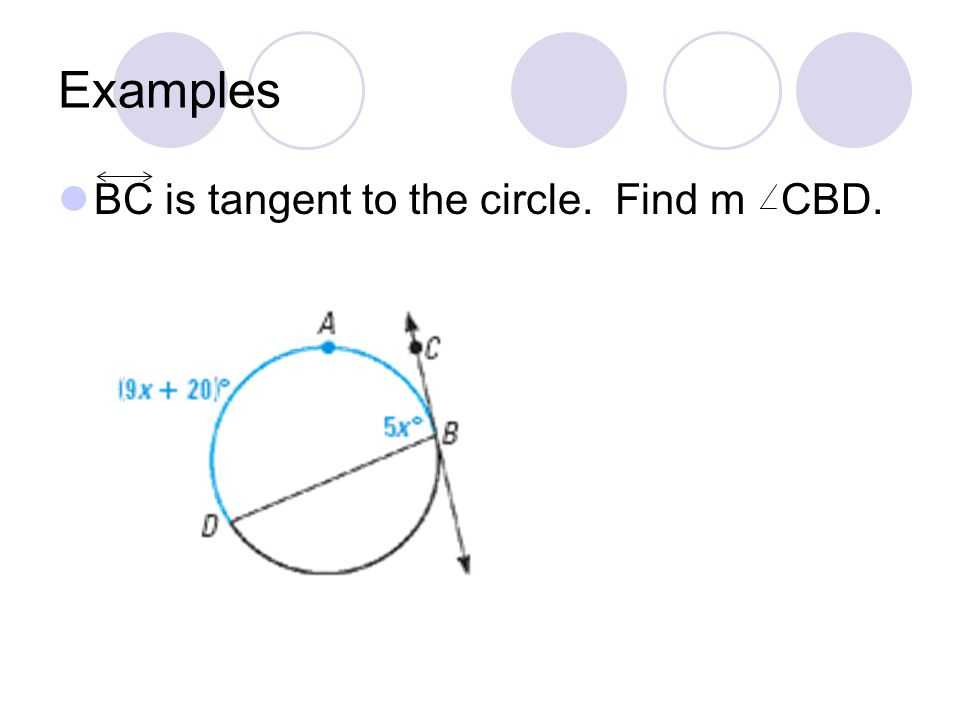 Examples BC is tangent to the circle. Find m CBD.
