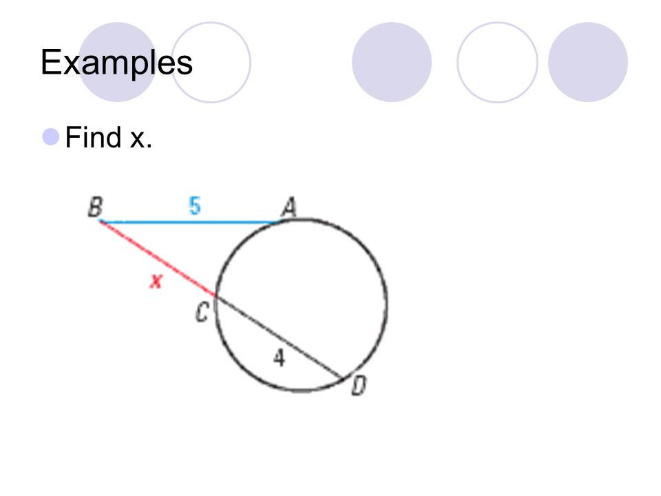 Examples Find x.