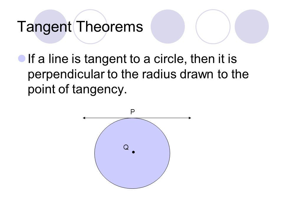 Tangent Theorems In a plane, if a line is perpendicular to a radius of a circle at its endpoint on the circle, then the line is tangent to the circle.