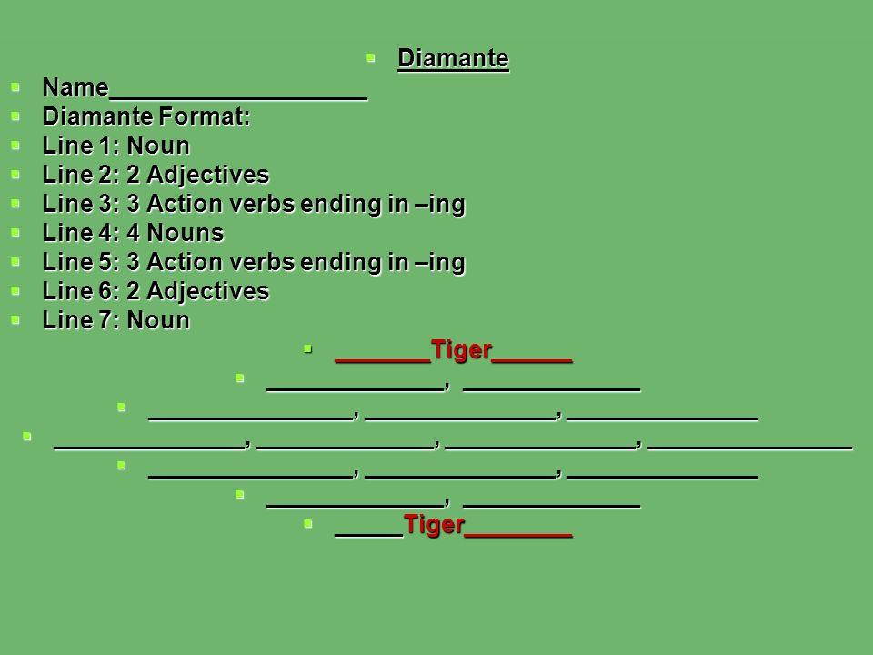 Diamante Diamante Name___________________ Name___________________ Diamante Format: Diamante Format: Line 1: Noun Line 1: Noun Line 2: 2 Adjectives Line 2: 2 Adjectives Line 3: 3 Action verbs ending in –ing Line 3: 3 Action verbs ending in –ing Line 4: 4 Nouns Line 4: 4 Nouns Line 5: 3 Action verbs ending in –ing Line 5: 3 Action verbs ending in –ing Line 6: 2 Adjectives Line 6: 2 Adjectives Line 7: Noun Line 7: Noun _______Tiger______ _______Tiger______ _____________, _____________ _____________, _____________ _______________, ______________, ______________ _______________, ______________, ______________ ______________, _____________, ______________, _______________ ______________, _____________, ______________, _______________ _______________, ______________, ______________ _______________, ______________, ______________ _____________, _____________ _____________, _____________ _____Tiger________ _____Tiger________