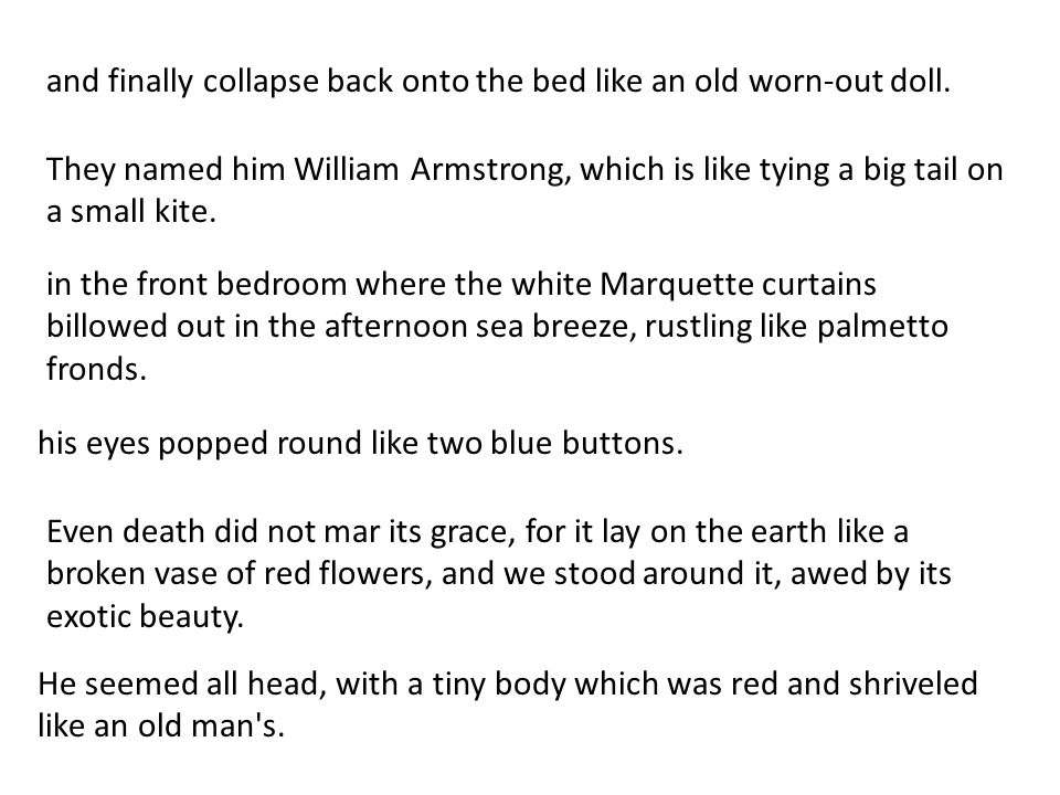He seemed all head, with a tiny body which was red and shriveled like an old man's. They named him William Armstrong, which is like tying a big tail o