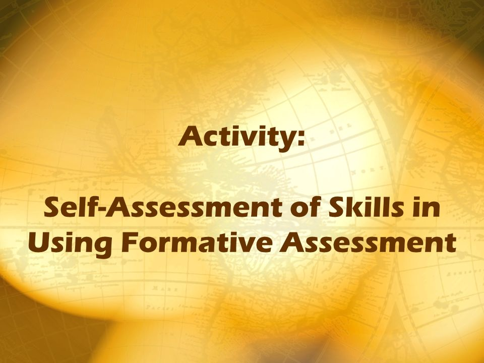 Activity: Self-Assessment of Skills in Using Formative Assessment