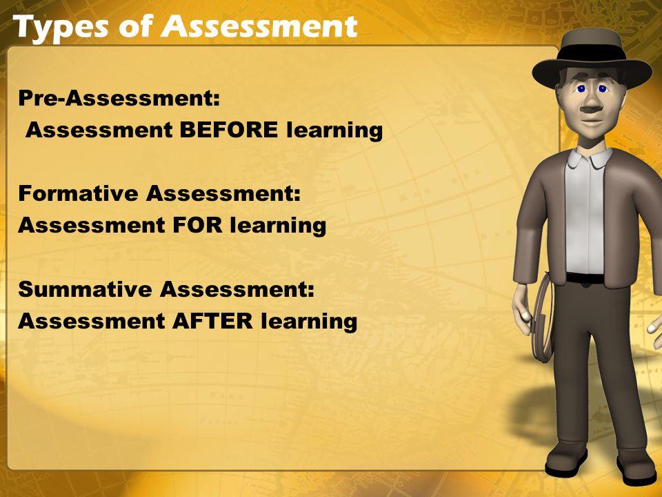 Types of Assessment Pre-Assessment: Assessment BEFORE learning Formative Assessment: Assessment FOR learning Summative Assessment: Assessment AFTER learning
