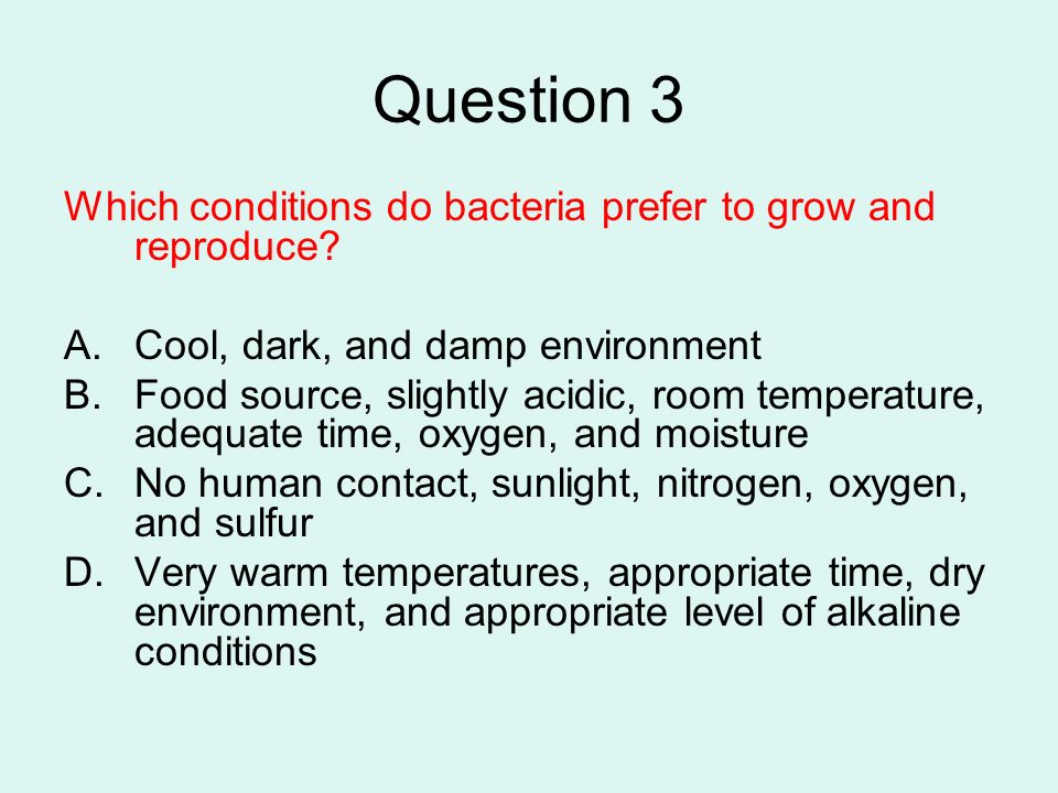 Question 3 Which conditions do bacteria prefer to grow and reproduce? A.Cool, dark, and damp environment B.Food source, slightly acidic, room temperat