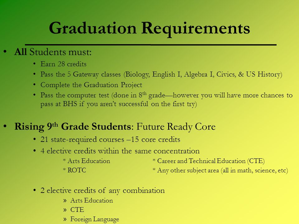 Graduation Requirements All Students must: Earn 28 credits Pass the 5 Gateway classes (Biology, English I, Algebra I, Civics, & US History) Complete the Graduation Project Pass the computer test (done in 8 th gradehowever you will have more chances to pass at BHS if you arent successful on the first try) Rising 9 th Grade Students: Future Ready Core 21 state-required courses –15 core credits 4 elective credits within the same concentration * Arts Education * Career and Technical Education (CTE) * ROTC * Any other subject area (all in math, science, etc) 2 elective credits of any combination » Arts Education » CTE » Foreign Language