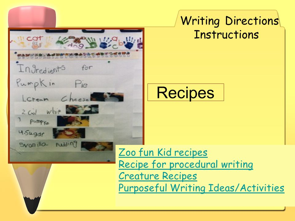 Recipes Writing Directions Instructions Zoo fun Kid recipes Recipe for procedural writing Creature Recipes Purposeful Writing Ideas/Activities
