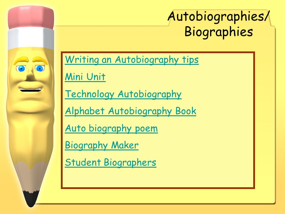 Autobiographies/ Biographies Writing an Autobiography tips Mini Unit Technology Autobiography Alphabet Autobiography Book Auto biography poem Biograph