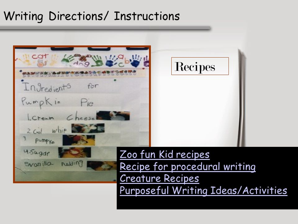 Recipes Writing Directions/ Instructions Zoo fun Kid recipes Recipe for procedural writing Creature Recipes Purposeful Writing Ideas/Activities