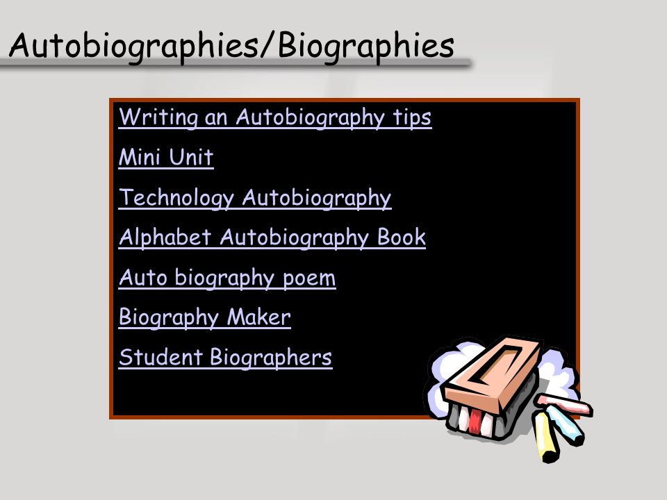 Autobiographies/Biographies Writing an Autobiography tips Mini Unit Technology Autobiography Alphabet Autobiography Book Auto biography poem Biography