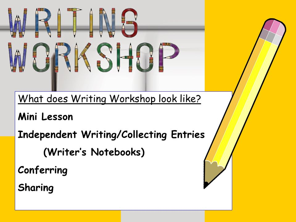 What does Writing Workshop look like? Mini Lesson Independent Writing/Collecting Entries (Writers Notebooks) Conferring Sharing