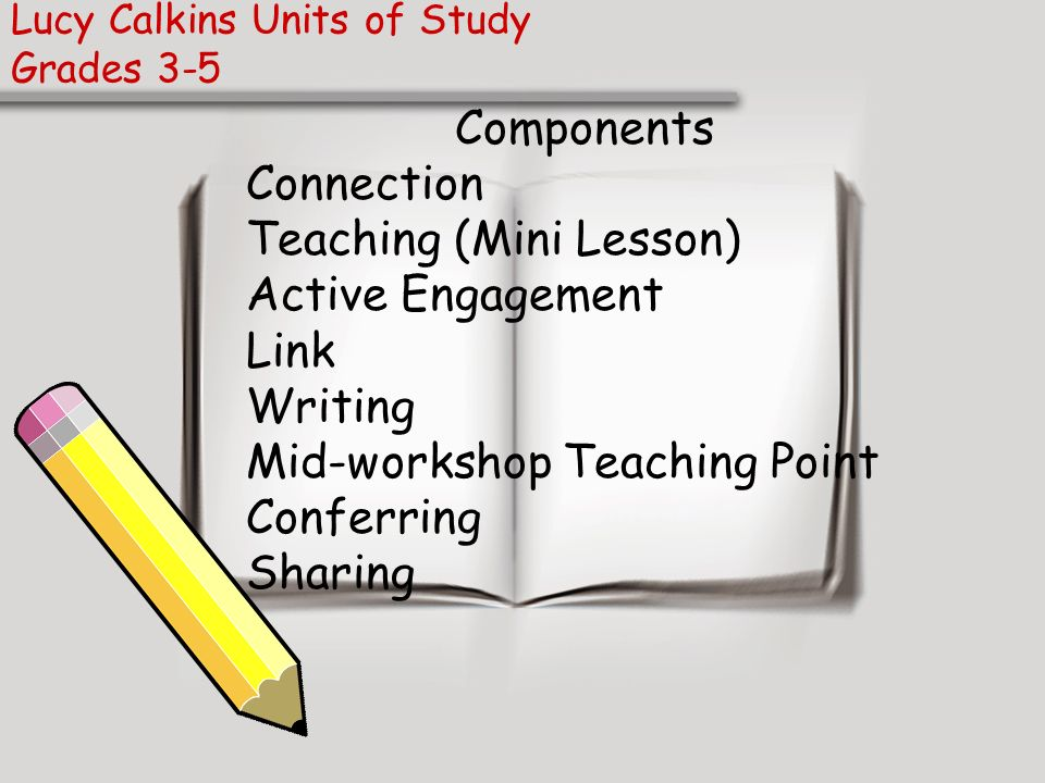 Lucy Calkins Units of Study Grades 3-5 Components Connection Teaching (Mini Lesson) Active Engagement Link Writing Mid-workshop Teaching Point Conferr