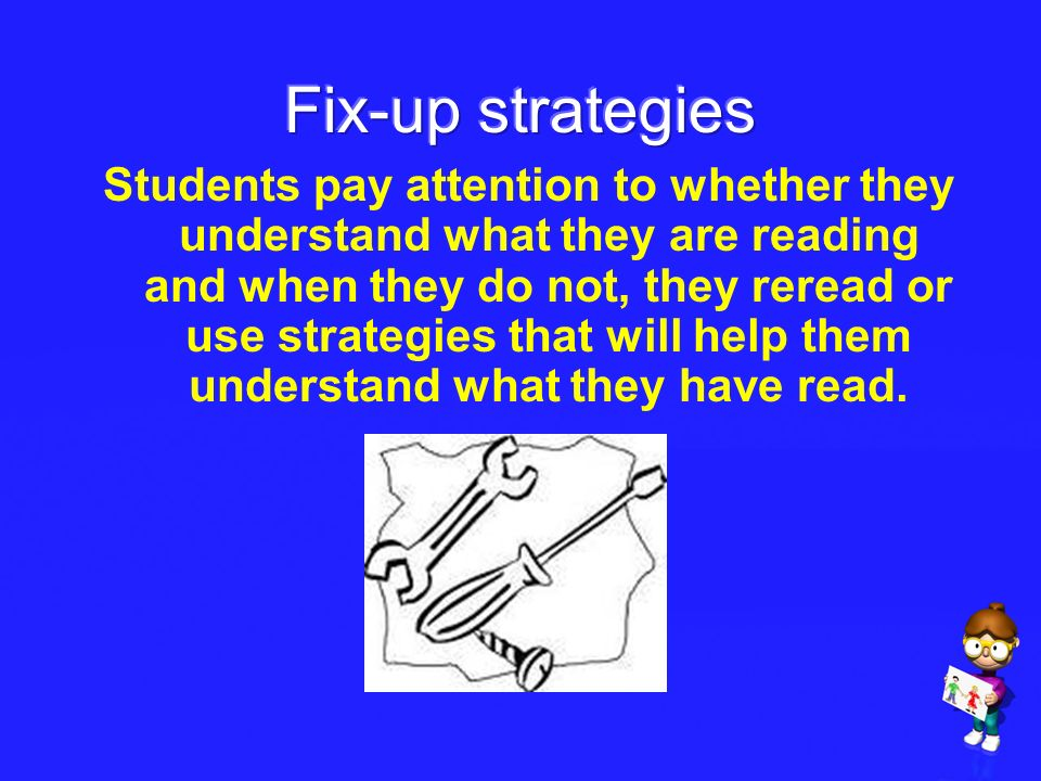 Students pay attention to whether they understand what they are reading and when they do not, they reread or use strategies that will help them unders