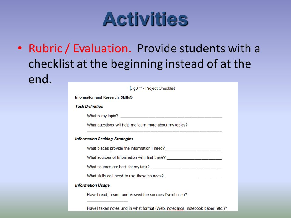Activities Rubric / Evaluation.