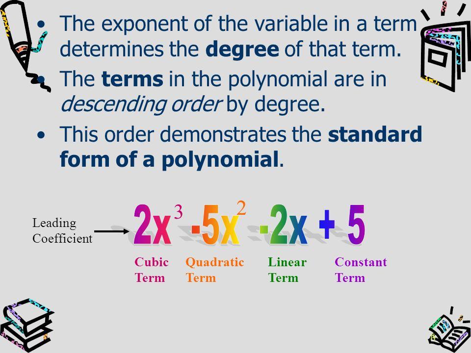DegreeName Using Degree Polynomial Example Number of Terms Name Using Number of Terms 0Constant61monomial 1Linearx + 32binomial 2Quadratic3x 2 1monomial 3Cubic2x 3 -5x 2 -2x3trinomial 4Quarticx4 + 3x 2 2binomial 5Quintic-2x 5 +3x 2 -x+44polynomial