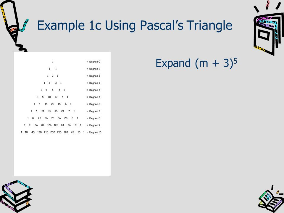 Example 1c Using Pascals Triangle Expand (m + 3) 5