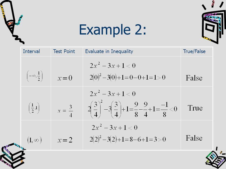 Example 2: IntervalTest PointEvaluate in InequalityTrue/False