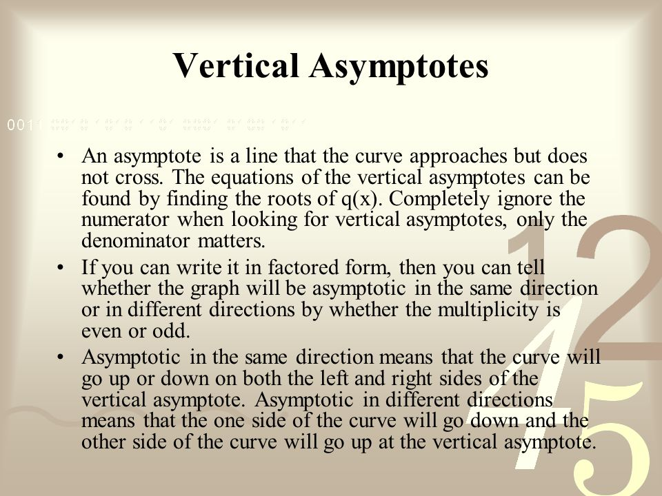 Vertical Asymptotes An asymptote is a line that the curve approaches but does not cross.