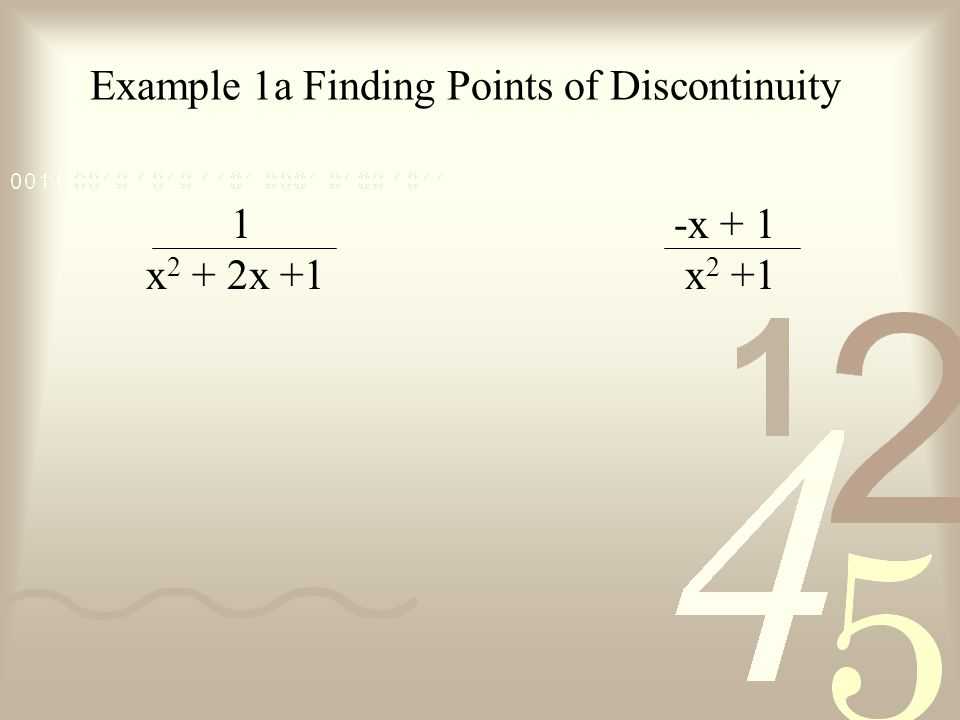 Example 1a Finding Points of Discontinuity 1 x 2 + 2x +1 -x + 1 x 2 +1
