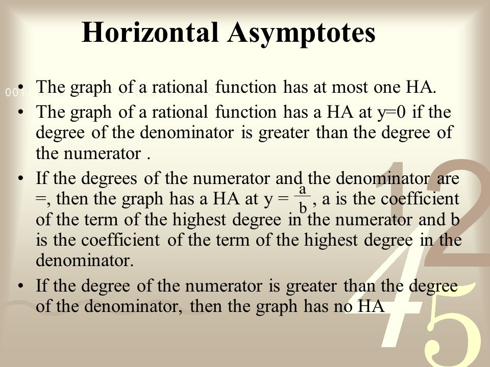 Horizontal Asymptotes The graph of a rational function has at most one HA.