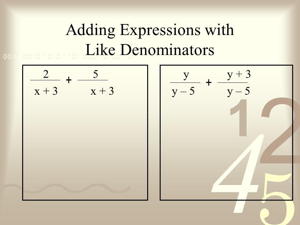 Adding Expressions with Like Denominators 2 5 x + 3 x + 3 y y + 3 y – 5 y – 5 + +