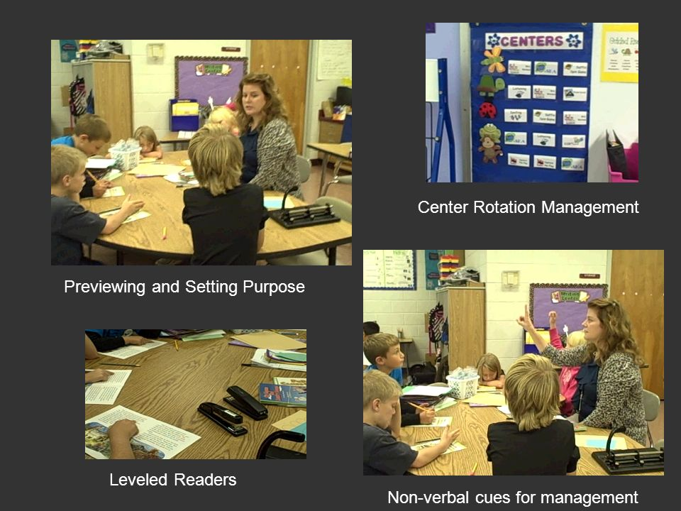 Non-verbal cues for management Leveled Readers Previewing and Setting Purpose Center Rotation Management