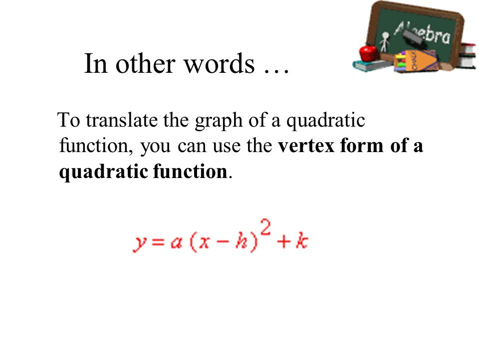In other words … To translate the graph of a quadratic function, you can use the vertex form of a quadratic function.