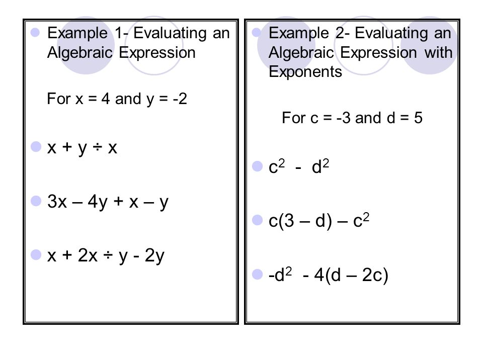 Evaluating Algebraic Expressions A variable is a symbol, usually a letter, that represents one or more numbers.
