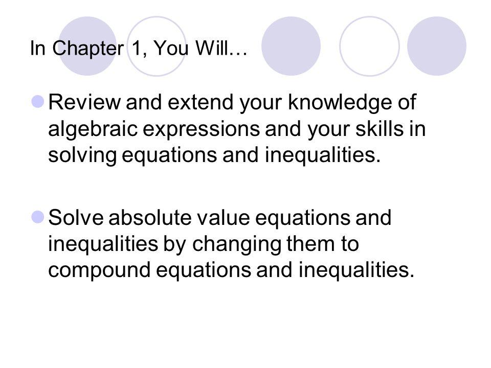 Chapter 1 Tools of Algebra