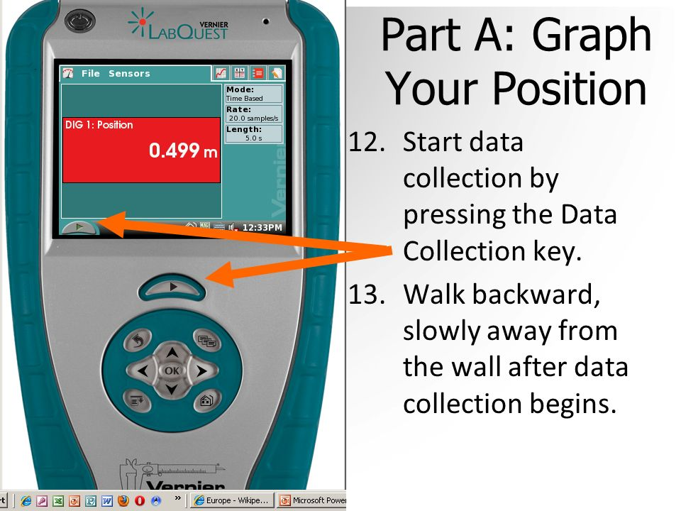Part A: Graph Your Position 12.Start data collection by pressing the Data Collection key.