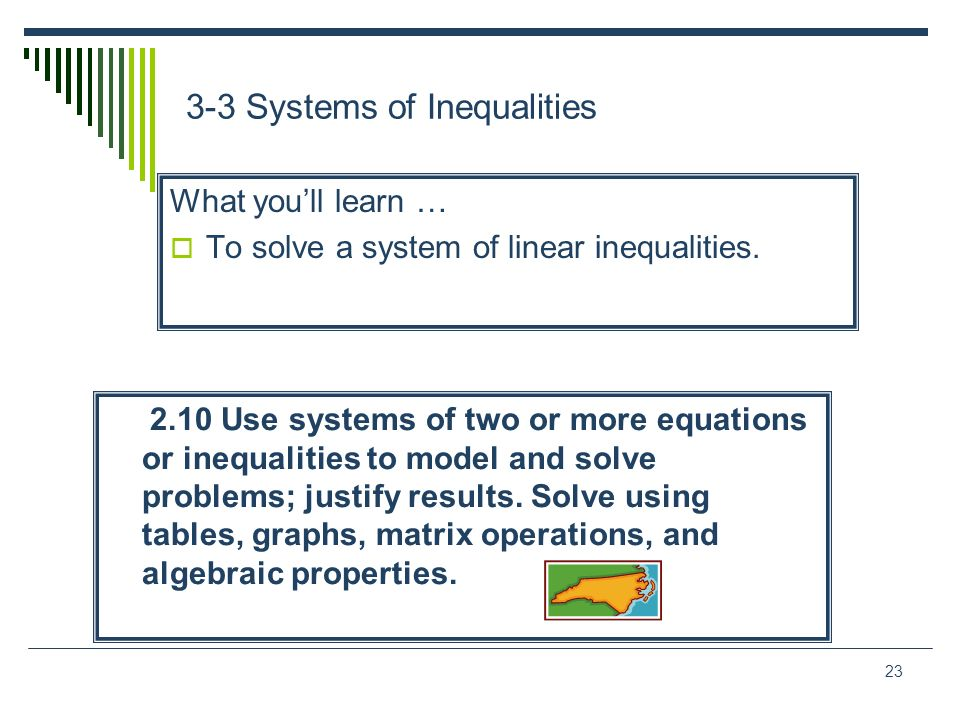 23 3-3 Systems of Inequalities What youll learn … To solve a system of linear inequalities. 2.10 Use systems of two or more equations or inequalities