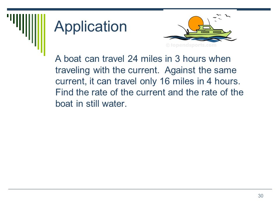 30 Application A boat can travel 24 miles in 3 hours when traveling with the current. Against the same current, it can travel only 16 miles in 4 hours