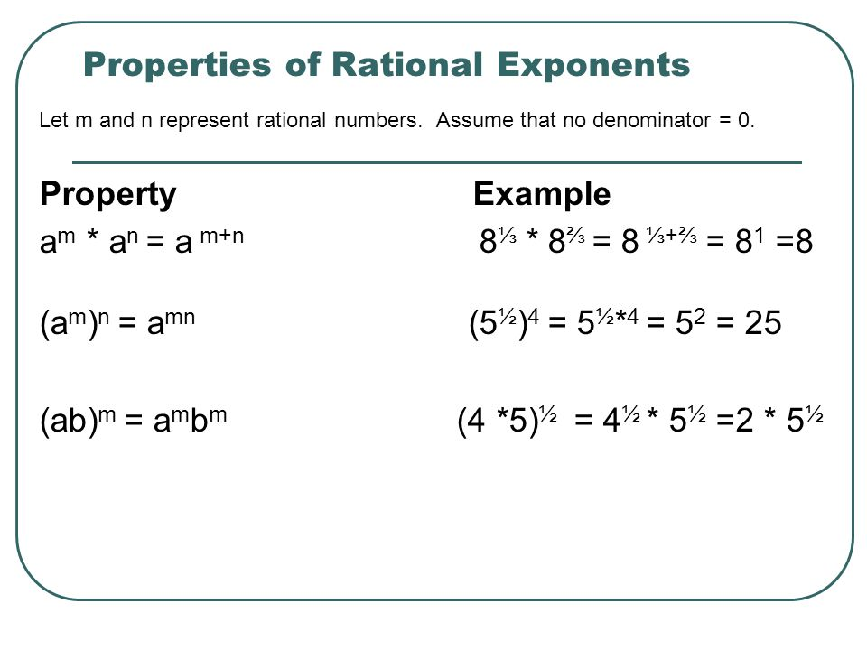 Properties of Rational Exponents Let m and n represent rational numbers.