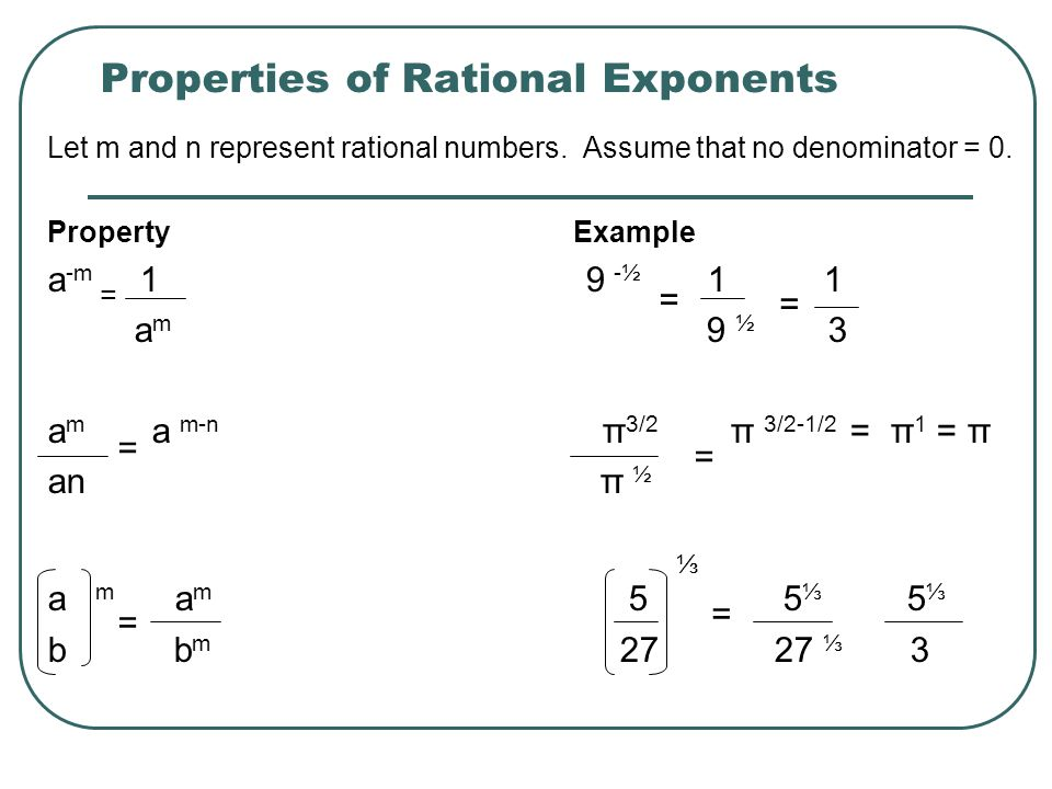 Example 4 Simplifying Numbers with Rational Exponents (-32) 3/5 4 -3.5