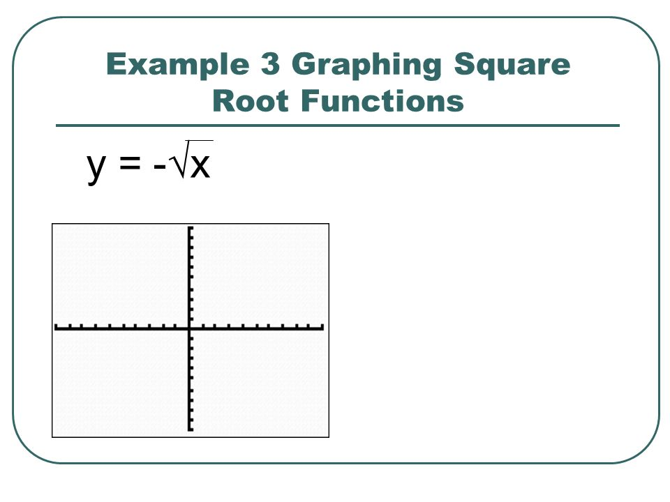 Example 3 Graphing Square Root Functions y = -x