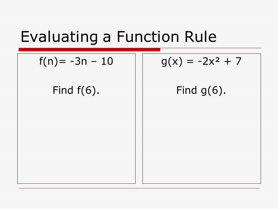 Evaluating a Function Rule f(n)= -3n – 10 Find f(6). g(x) = -2x² + 7 Find g(6).