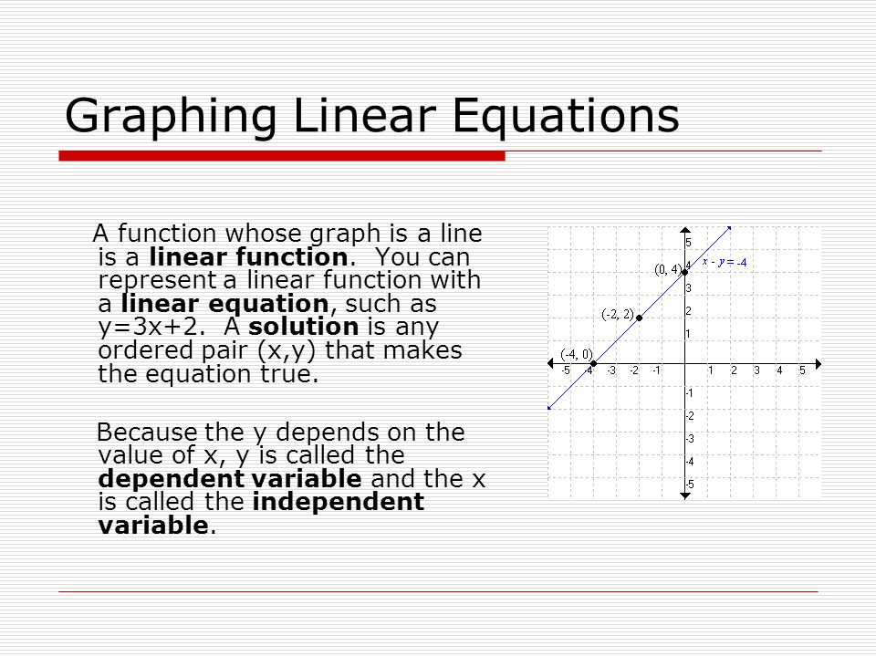 Graphing Linear Equations A function whose graph is a line is a linear function. You can represent a linear function with a linear equation, such as y