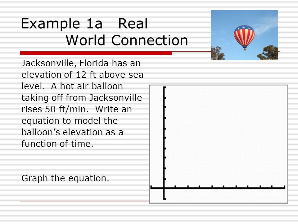 Example 1a Real World Connection Jacksonville, Florida has an elevation of 12 ft above sea level. A hot air balloon taking off from Jacksonville rises