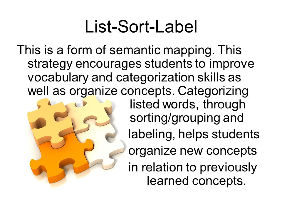 List-Sort-Label This is a form of semantic mapping.