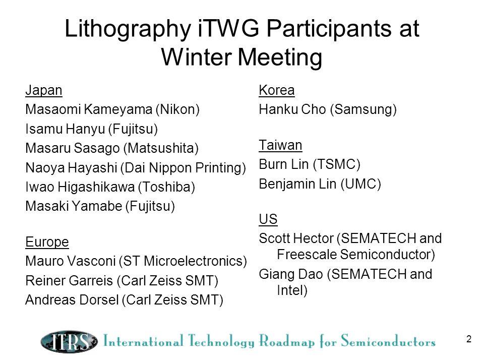 2 Lithography iTWG Participants at Winter Meeting Japan Masaomi Kameyama (Nikon) Isamu Hanyu (Fujitsu) Masaru Sasago (Matsushita) Naoya Hayashi (Dai N