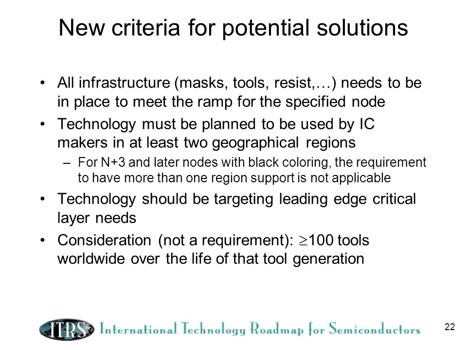 22 New criteria for potential solutions All infrastructure (masks, tools, resist,…) needs to be in place to meet the ramp for the specified node Technology must be planned to be used by IC makers in at least two geographical regions –For N+3 and later nodes with black coloring, the requirement to have more than one region support is not applicable Technology should be targeting leading edge critical layer needs Consideration (not a requirement): 100 tools worldwide over the life of that tool generation
