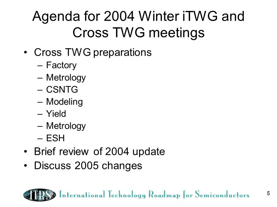 5 Agenda for 2004 Winter iTWG and Cross TWG meetings Cross TWG preparations –Factory –Metrology –CSNTG –Modeling –Yield –Metrology –ESH Brief review of 2004 update Discuss 2005 changes