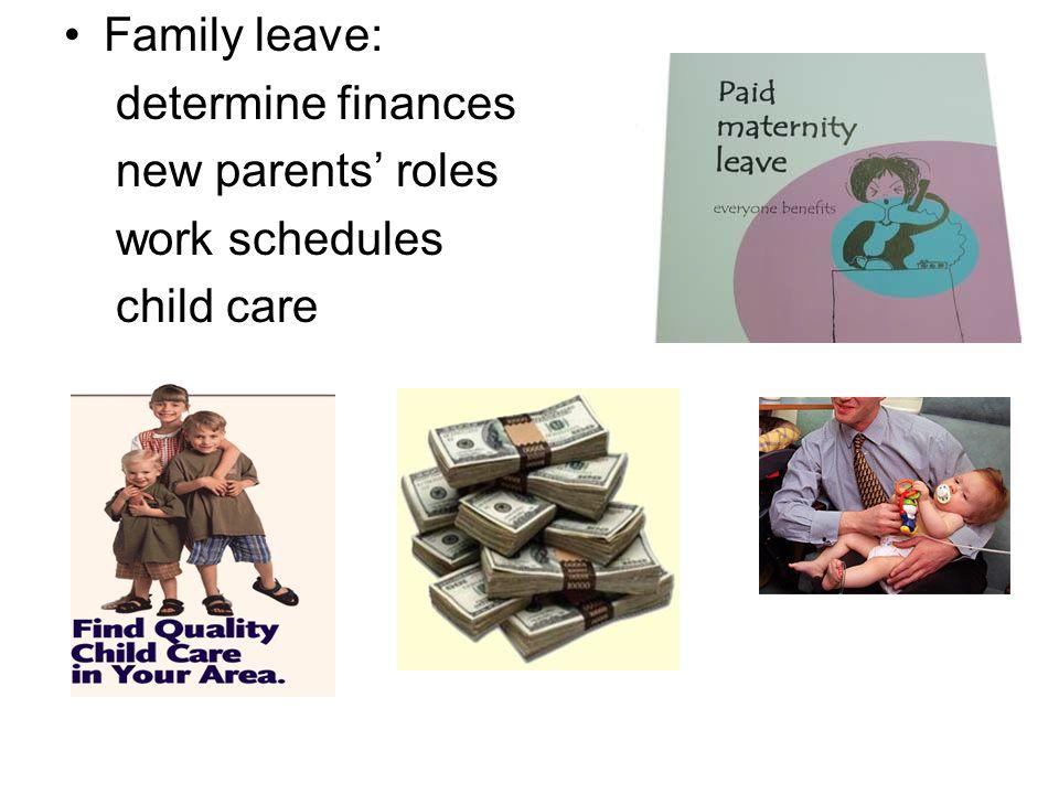 Family leave: determine finances new parents roles work schedules child care