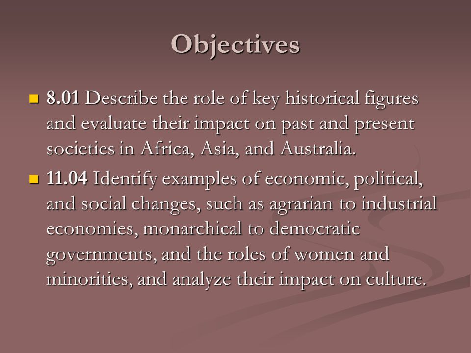 Objectives 8.01 Describe the role of key historical figures and evaluate their impact on past and present societies in Africa, Asia, and Australia.